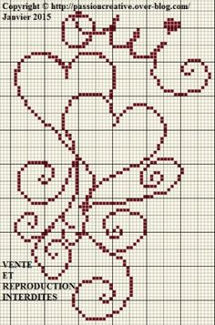 Grille gratuite point de croix : Coeurs arabesque oui