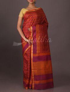 Mallika Trendy Fine Print Silk Saree in Burnt Red