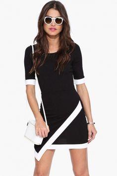 Graceful Contrast Color Bodycon Dress