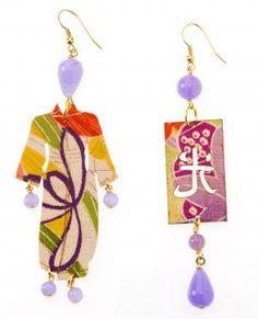 Orecchini ispirati all'oriente sia nelle forme che nei materiali con inserti in seta da Kimoni orientali