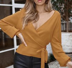 Yellow V Neck Wrap Sweater Long Sleeve Lace Up Women Fall Cardigan Winter Tops Knitted Jumper Fall Cardigan, Wrap Sweater, Long Sleeve Sweater, Jumper, Long Sweaters, Sweaters For Women, Long Sleeve Wrap Top, Winter Tops, Women Sleeve
