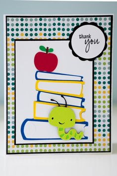 """Bookworm card using Cricut cartridges """"Create a Critter"""" and """"Locker Talk"""" along with Pink by Design's stamp set """"Scripted Year."""""""