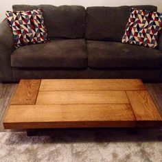 Oak Coffee Table Sleeper Rustic Dark Wood Low Handmade