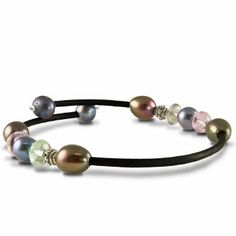 Sterling silver dyed black freshwater cultured pearl and prehnite black rubber bracelet. @ http://www.pearls.com