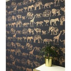 Graham & Brown Boutique Safari Animals Midnight Blue & Rose Gold Wallpaper 104893 - Features metallic highlights of exotic animals including zebra, lions and elephants Bathroom Wallpaper Trends, Wallpaper Toilet, Funky Wallpaper, Tier Wallpaper, Rose Gold Wallpaper, Kitchen Wallpaper, Gold Wallpaper In Living Room, Wallpaper Youth Bedroom, Feature Wallpaper Living Room