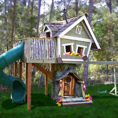 1000 images about awesome swingsets on pinterest swing for Whimsical playhouse blueprints