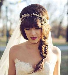 96 Awesome Wedding Hairstyles with Bangs 42 Fun to Wear Half Up Half Down Wedding Hairstyles, Wedding Hair Styles – Starsricha, 10 Pretty Braided Hairstyles for Wedding Wedding Hair, 50 Superb Wedding Looks to Try if You Have Short Hair. Bohemian Hairstyles, Wedding Hairstyles For Long Hair, Hairstyles With Bangs, Bridal Hairstyles, Short Hair, Hairstyle Wedding, Fancy Hairstyles, Headband Hairstyles, Hairstyles Haircuts