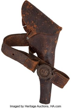 Military & Patriotic:Civil War, Confederate Holster & Belt With Two-piece Interlocking CSBuckle....