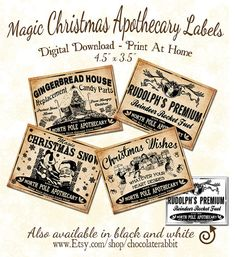 Christmas Apothecary Potion Labels Gift Tags by chocolaterabbit, $2.25