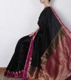 Black & Pink Silk Saree