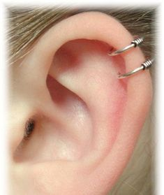 no piercing required Cartilage Ear Cuff - Double Wire - Sterling Silver or 14K Gold Vermeil. $12.00, via Etsy.