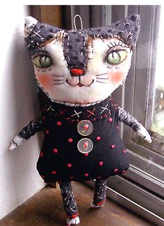 Original art Stitched Kitty Doll folk art funny by miliaart