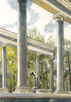 Lion cascade and colonnade, Alexandre Benois Medium: graphite, watercolor, paper Peterhof Palace, Building Painting, Post Impressionism, Art Database, Art And Architecture, Art World, Van Gogh, Watercolor Paintings, Watercolor Paper