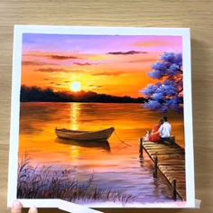 Sunset Painting Video Great art by Wow Art Y uTube Abstract Painting Ideas sunset sunsetpainting painting paintingoftheday Canvas Painting Tutorials, Diy Canvas Art, Acrylic Painting Canvas, Lake Painting, Painting Videos, Canvas Canvas, Acrylic Art, Nature Oil Painting, Painting Techniques