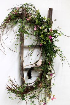 Primitive Decor, Front Door Decor, Spring Primitive Ladder, Rustic Decor, Country Decor, Front Door Wreath, Yard Decor -- FREE SHIPPING. $138.00, via Etsy.
