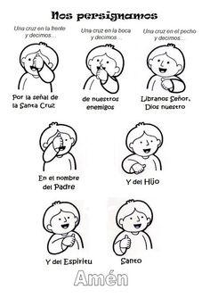 Recurso para enseñar a los niños a hacer la Señal de la Cruz. #catequesis, #niños, #católico