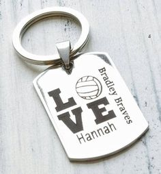 Volleyball Team Player Personalized Key Chain - Engraved Volleyball Jerseys, Volleyball Training, Beach Volleyball, Senior Gifts, Team Player, Team Gifts, Key Chain, Messages, Personalized Items