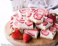 No-Bake Strawberry Shortcake Bars taste just like strawberry shortcake! No baking necessary to make these gluten-free, Paleo, and vegan bars.