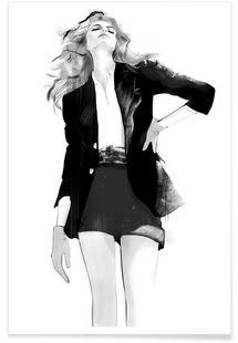 Woman in Black - Floyd Grey - Affiche premium