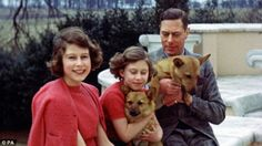 Never seen before:Princess Elizabeth (left), Princess Margaret and their father King Geor...