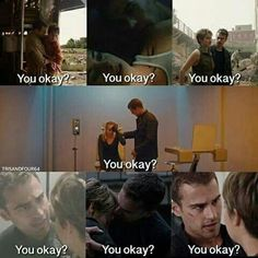 Tobias, I think she's okay.>>> this is funny but he's just caring about her. Tris Et Tobias, Tris Und Four, Divergent Theo James, Divergent Four, Divergent Trilogy, Divergent Insurgent Allegiant, Divergent Memes, Divergent Hunger Games, Divergent Fandom