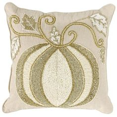 In the sparkling pumpkin competition, Cinderella's carriage takes a surprising second place. The winner, clearly, is our rich, hand-beaded design, in shimmering whites and golds on a natural cotton background. The best part? It retains its beauty well past midnight.