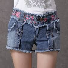 chinese-style-embroidered-denim shorts