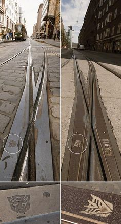 The milled #Transformers #Decepticon and #Autobot markings on #Helsinki tram tracks. Maker unknown, it's a mystery.