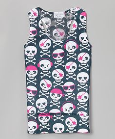 Look at this #zulilyfind! Black & Pink Skull Lace-Back Tank - Girls by Glitter Girl #zulilyfinds