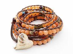 Coral Jade Leather Wrap Bracelet  Chan Luu by WrappedInLeather, $74.95