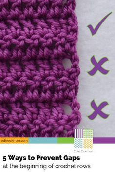 5 Ways to Prevent Gaps at Beginning of Crochet Rows - double crochet & treble crochet - look for video elsewhere on this board - she doesn't give all 5 methods in video (too bad) just dc and treble crochet There's more than one way to prevent those ugly g Stitch Crochet, Crochet Motifs, Knit Or Crochet, Crochet Crafts, Free Crochet, Crochet Ideas, Crochet Tutorials, Diy Crafts, Single Crochet