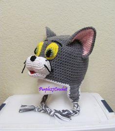 Ravelry: Tom the Cat Hat pattern by Crochet Animal Hats, Crochet Kids Hats, Crochet Beanie Hat, Beanie Pattern, Knitted Hats, Bonnet Crochet, Crochet Cap, Crochet Character Hats, Cat Hat