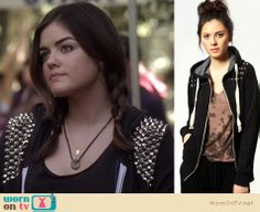 Lots of people asked about Aria's studded hoodie last week's Pretty Little Liars, it was custom made by one of the costumers so the exact one isn't available to buy but Boohoo have this similar one for $36!  Pretty rad.   http://wornontv.net/6774/