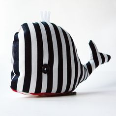 Sweet striped whale cushion