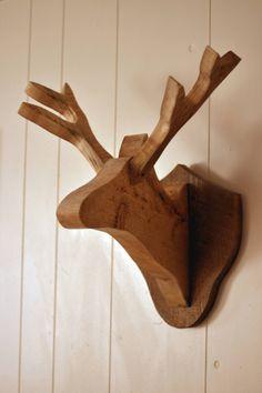 Wooden deer head...I keep seeing these EVERYWHERE! Love love #deerhead #antlers #decor #rustic