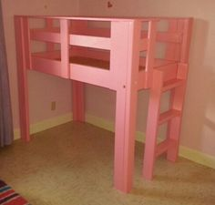 Our 3 year old daughters Toddler size loft bed that my husband built =) <3