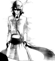 "Ulquiorra's face when he sees Grimmjow with Orihime. He is thinking ""Get away her from now b*tch."""