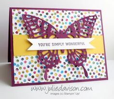 Stampin' Up! Butterflies Thinlits + Painted Blooms Simply Wonderful Card #occasions #saleabration www.juliedavison.com