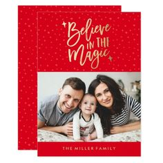 Believe In The Magic   Holiday Photo Card in Red