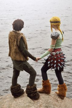 Hiccup and Astrid from How to Train Your Dragon.