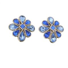 Vintage Yves Saint Laurent Earrings Silver and Blue Crystal Clip Ons ($250) ❤ liked on Polyvore featuring jewelry, earrings, two tone earrings, silver earrings, blue clip on earrings, vintage crystal earrings and crystal clip on earrings