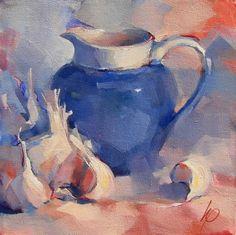 Blauwe kan en knoflook by South African Artist- Wyn Rossouw