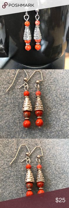 """EARRINGS CHANDELIER STYLE GOLD TONE RED STONE FRENCH WIRE 3 1//2/""""  NICKEL FREE"""
