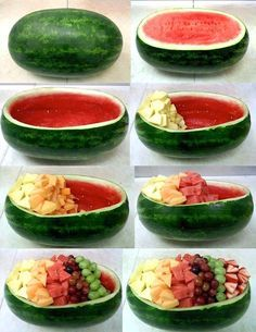 What a fun idea: colorful fruit party plate in a watermelon dish