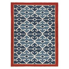Artfully handcrafted from wool, this eye-catching flatweave rug brings a pop of pattern to your floors with its kilim-inspired motif.