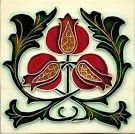 Art nouveau tile - pomegranates