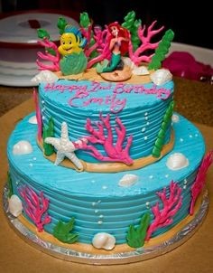 Tasteful Cakes - Corona, CA, United States. 2nd pic if my girl's Little Mermaid cake. Cookies & cream bottom, spice cake with pumpkin cream top. The BEST!