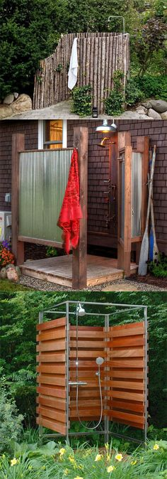 32 inspiring DIY outdoor showers: lots of ideas on how to build enclosures with simple materials, best outdoor shower fixtures, creative designs and more! - apieceofrainbow.com #furnituredesign