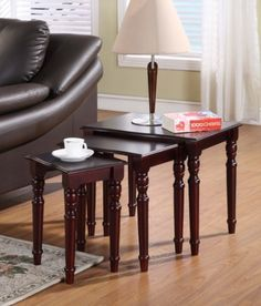 King's Brand R1039 Merlot Nested End Table, Cherry Finish, Set of 3 by King's Brand. $84.45. Large table measures 21-inch length by 15-inch width by 18-inch height. Merlot nested end tables set comes in a set of 3 tables large, medium and small. Made of solid wood and mdf with wood veneer material; available in cherry finish. Medium table measures 16-inch length by 12-inch width by 17-inch height. Small table measures 11-1/2-inch length by 10-inch width by 16-inch height. Merlot...