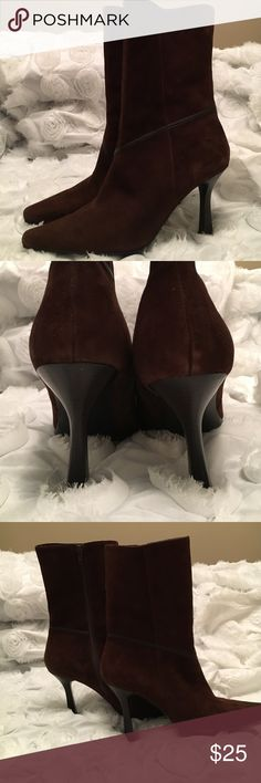 """Liz Claiborne Flex boots❤️ In great condition! Brown suede 3 1/2 """" heels. It's really comfy but heels are too high for me. Liz Claiborne Shoes Heeled Boots"""